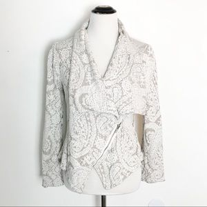 Anthro Moth Asymmetric Jacquard Zip Cardigan